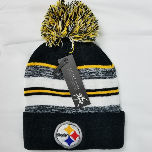 1aeb59e6e22 Pittsburgh Steelers Beanie Pom Pom Knit Hat Cap